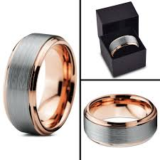 Mens 8mm White Gold Comfort Fit Wedding Band Tungsten Wedding Band Ring 8mm For Men Women Comfort Fit 18k Rose
