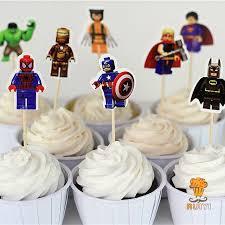 iron cake topper 24pcs lego the superman batman iron cake toppers