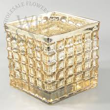 Mosiac Vase Square Mercury Glass Mosaic Vase In Gold 6x6 Wholesale Flowers