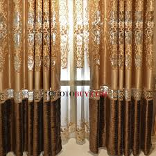 Gold Living Room Curtains Embroidery Floral Pattern Gold Faux Silk Fabric Living Room