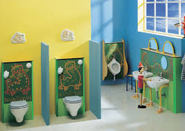 cute decorating bathroom ideas with yellow and blue wall color and