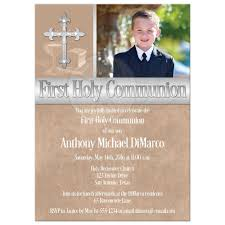 communion invitations holy communion invitation photo template brown