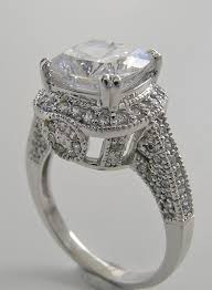 purchase art deco style large cushion cut diamond accent ring setting