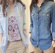 denim blouses womens chambray shirt top denim shirts and blouses sleeve