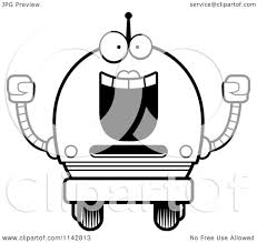 cartoon clipart of a black and white cheering robot vector