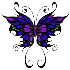 blue and pink tribal butterfly design