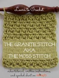 pattern of crochet stitches granite stitch or moss stitch moogly