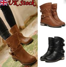 womens flat boots uk flat buckle shoes ebay