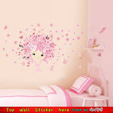 popular pink wall decals buy cheap pink wall decals lots from removable diy baby girls room bedroom wall decoration sticker pink flowers fairy wall decals waterproof vinyl