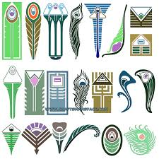 conventionalized peacock feather designs