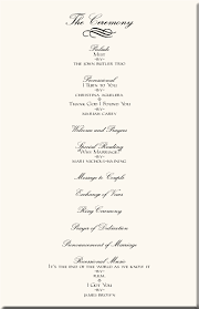 wedding reception program template wedding ceremony program exles hnc