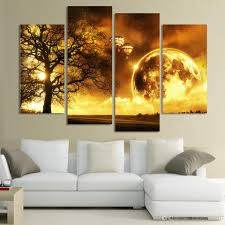 online cheap 4 panel ancient tree printed universe space paintings