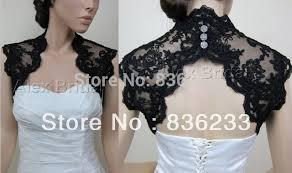 dramatic black lace beaded keyhole back shrug wrap bridal jacket