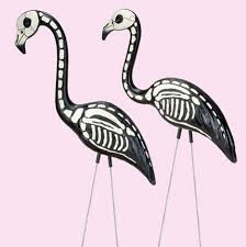 skeleton pink flamingos yard lawn ornaments set of 4 27 98