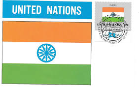 National Flags With Orange Flags And Stamps United Nations And The National Flag Of India