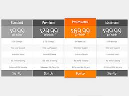 35 free photoshop psd price templates for pricing tables services