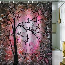 Unique Bathroom Shower Curtains Modern Bathroom With Cherry Blossom Fabric Shower Curtains And