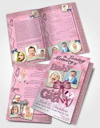 baby funeral program 2 page graduated step fold funeral program template brochure pink