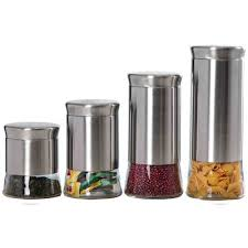 kitchen canister sets stainless steel wayfair basics wayfair basics 4 stainless steel kitchen