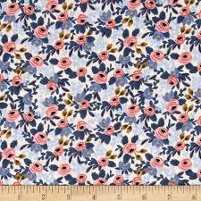 cotton steel rifle paper co les fleurs rosa periwinkle from
