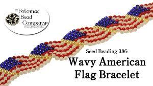 beading bracelet patterns images Seed beading 386 wavy american flag bracelet jpg