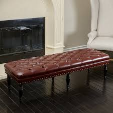 Leather Bench Ottoman by Valencia Dark Brown Leather Nail Head Bench Free Shipping Today