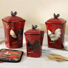 Country Kitchen Canisters Cheap Rooster Decor For Kitchen Kitchen Decor Design Ideas