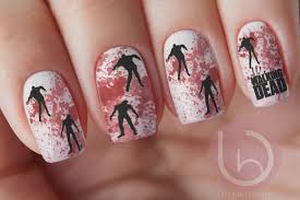 the walking dead zombie manicure nail design nails press on