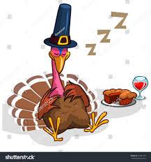 cartoon turkeys for thanksgiving sleeping turkey after good meal pie stock vector 337925729