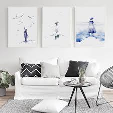 chambre de d馗ompression bianche mur simple bleu aquarelle abstraite figure peinture de toile