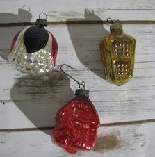 Red Mercury Glass Christmas Ornaments Vintage German Figural Mercury Glass Christmas Tree Ornaments