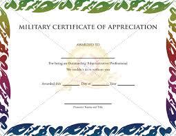 military certificate of appreciation template certificate template