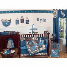 blue and brown crib bedding collection