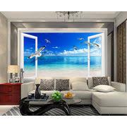 large beach sea 3d window wall sticker home decor exotic beach