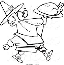 vector of a cartoon pilgrim man carrying a roasted turkey