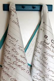 scotch green and white stripe dish towel kitchen towels wow turn handwritten recipes your mom s handwriting your