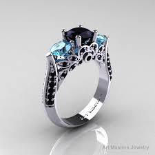 black and blue wedding rings classic 14k white gold three black diamond blue topaz