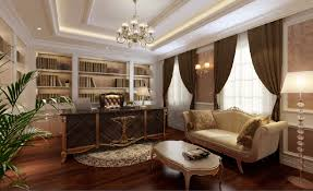 3d high end french study interior design classic retail