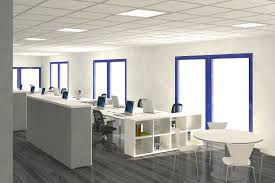 fresh office interior design supported by bright theme and