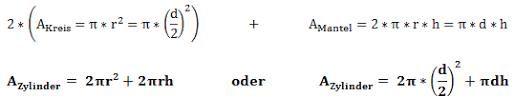 oberfläche zylinder zylinder volumen und oberflächenberechnung erklärt