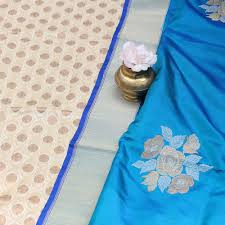 peacock blue pure katan silk dupatta u0026 cream pure katan silk