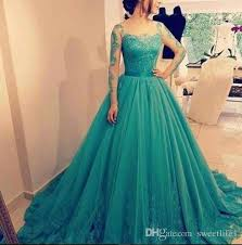 2017 elegant evening dress prom dress ball gown sheer long sleeves
