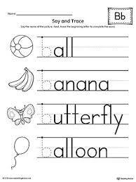 say and trace letter b beginning sound words worksheet