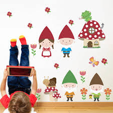 gnome family woodland fabric wall stickers by snuggledust studios children s stickers woodland gnomes mushroom frog flowers fabric decals kids decor