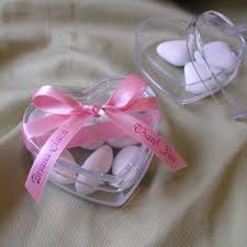 personalized ribbon for wedding favors acrylic heart box with personalized ribbon