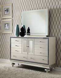 Aico Amini Hollywood Swank Aico Hollywood Swank Crystal Croc Upholstered Dresser And Mirror