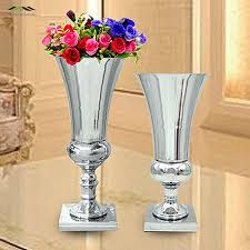 Vases For Flowers Wedding Centerpieces Aliexpress Com Buy 2pcs Lot Silver Metal Wedding Flower Vase