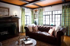 bedroom eclectic living room with original carpet plus round