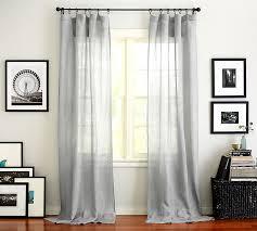 Grey Sheer Curtains Belgian Flax Linen Sheer Drape Flax Pottery Barn