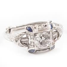 vintage art deco style platinum and 0 94 ctw diamond ring ebth